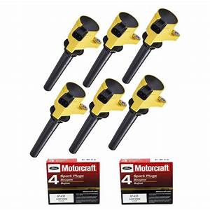 Set Of 6 Yellow Color Ignition Coil And Spark Plug