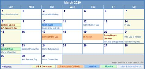 march calendar holidays picture
