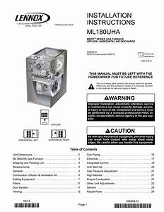 Installation Instructions Ml180uha This Manual Must Be