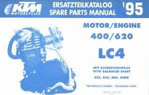 1995 Ktm 400 620 Lc4 Exc Rxc Egs Duke Engine Spare Parts Manual