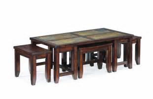 Rustic Rectangle Coffee Table With Ottoman Stools Underneath   Decofurnish