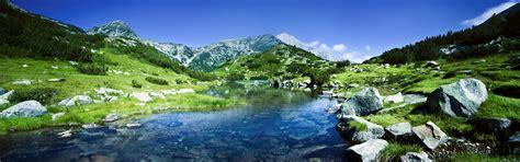 壁紙 ピリン山脈、ブルガリア、川、岩 3840x1200 マルチモニターパノラマ 無料のデスクトップの背景, 画像