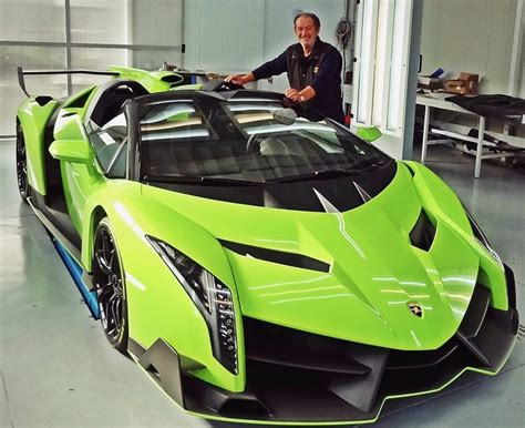 Valentino Balboni Poses With Verde Singh Lamborghini