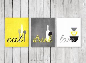 Kitchen wall art print set eat drink love by 7wondersdesign for Kitchen colors with white cabinets with animal framed wall art