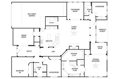 4 bedroom floor plans one 4 bedroom house plans one 2017 house plans and