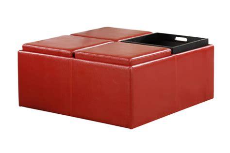 Red Leather Storage Ottoman At Gardner White
