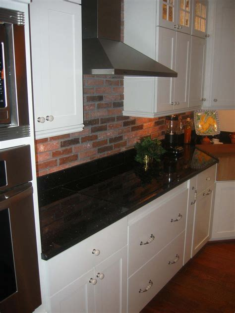 brick tile kitchen  splash  extra black  white