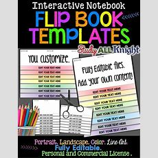 Fully Editable Color Line Art You Customize Add Your Own Content Flip Book Templates For
