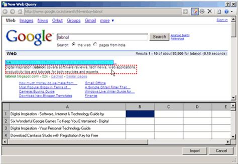 get live data from web pages into excel spreadsheets with web queries