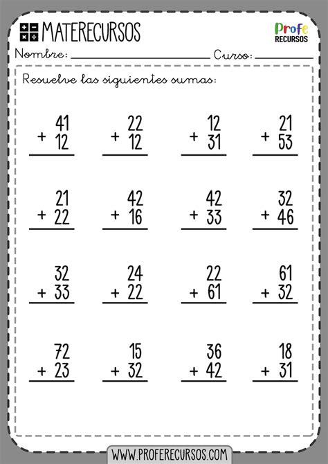 Fichas de Sumas de 2 dígitos SIN LLEVAR Ejercicios de