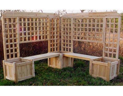 Double Planter Bench W Lattice   Outdoor Arbors