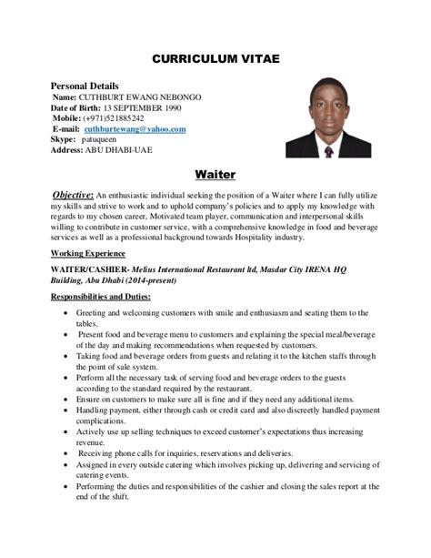 Maitre D Resume Template by Waiter Cv 1