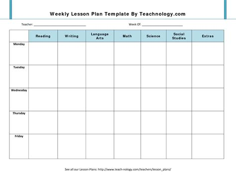 Lesson Plan Template Weekly Lesson Plan Template Beepmunk