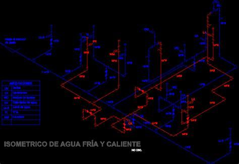 isometric water installation  housing dwg block