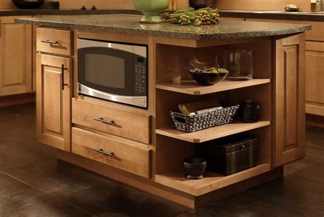 Open Kitchen Cupboard Ideas - where to put the microwave in your kitchen