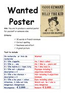 Wanted Poster in French activity.   Teaching Resources