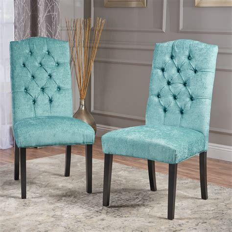light teal upholstered tufted fabric luxury dining accent