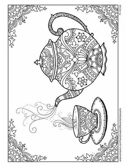 Coloring Teapot Adult Mandala Teacup Library Printable