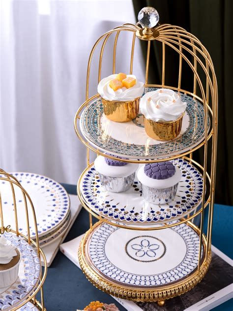 metal birdcage fruit ceramic plate cake candy dessert storage container stand rack holder home