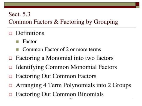 Ppt  Sect 53 Common Factors & Factoring By Grouping Powerpoint Presentation Id2794926