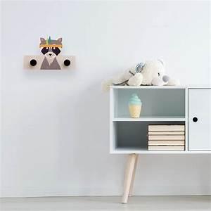 Porte Manteau Chambre : porte manteau raton laveur en bois chambre d 39 enfant ~ Farleysfitness.com Idées de Décoration
