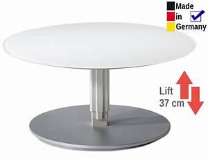 Couchtisch Rund Weiß : couchtisch l ttich rund 80x39 cm h henverstellbar glasplatte wei wohnbereiche wohnzimmer couch ~ Indierocktalk.com Haus und Dekorationen