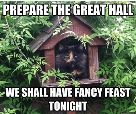 Fancy Feast Meme - prepare the great hall we shall have fancy feast tonight royalty cat quickmeme