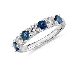 platinum wedding band with diamonds seven sapphire and ring in platinum blue nile