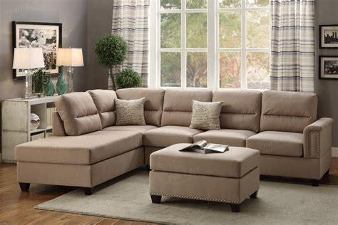 Brown Fabric Sectional Sofa And Ottoman Stealasofa