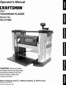 Craftsman 351217580 User Manual 12 1  2 Thickness Planer
