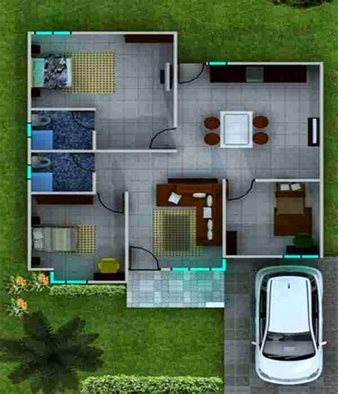 denah rumah dua kamar minimalis