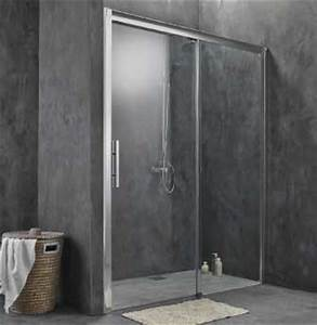 Cabine de douche porte coulissante 2 vantaux 160cm 170cm for Porte douche sans seuil