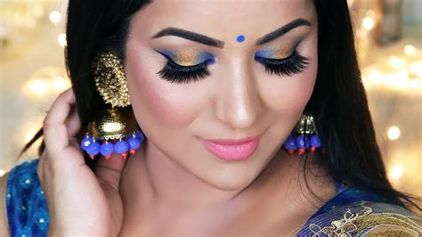 indian wedding guest party makeup tutorial blue