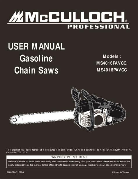 mcculloch mspavcc mspavcc professional chainsaw