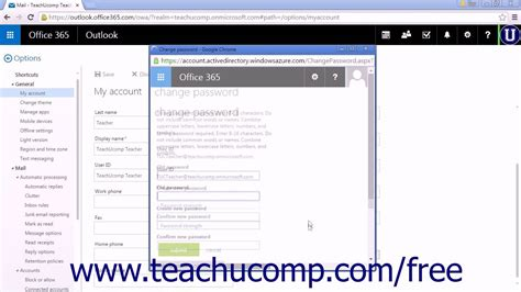 Office 365 Mail Change Password by Outlook Web App Tutorial Changing Your Password 2015