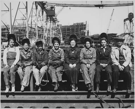 """File:""""Line up of some of women welders including the women ..."""