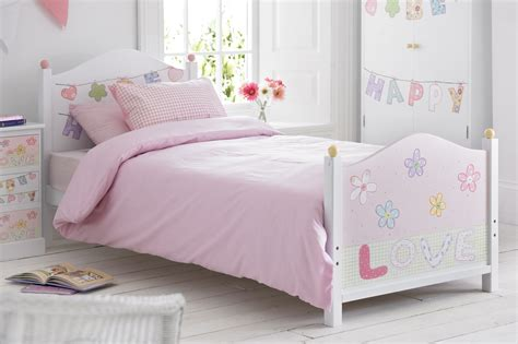 Girls White Pink Wooden Single Bed Be Happy Range