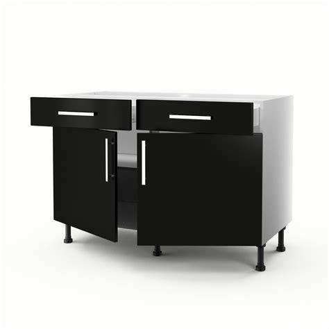 meuble de cuisine 120 cm meuble de cuisine bas noir 2 portes 2 tiroirs délice h