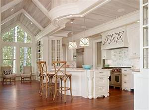 shiplap ceiling kitchen beach style with wood paneling