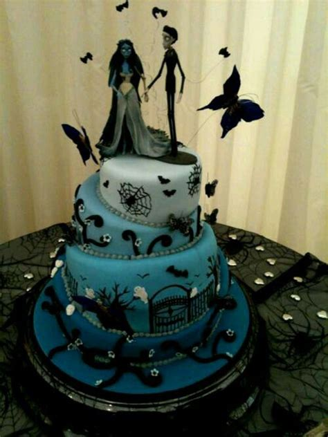 tim burton corpse bride wedding cake black  red