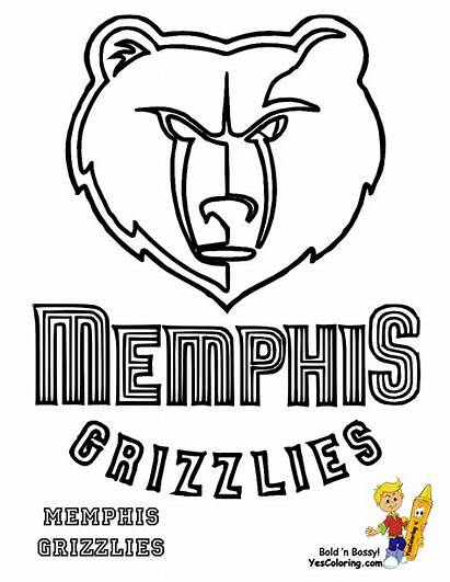 Grizzlies Coloring Memphis Clipart Basketball Printables Pages
