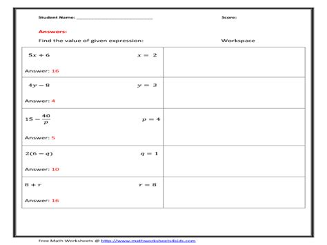 writing expressions from word problems worksheet