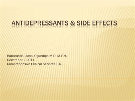 Antidepressants & Side Effects + Serotonin Syndrome Vs