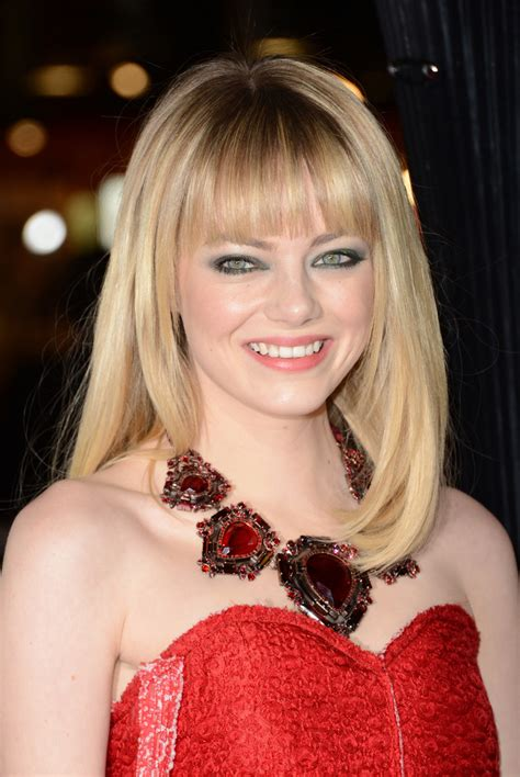 emma stone medium straight cut  bangs medium