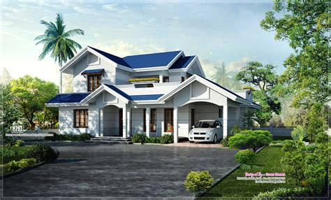 Beautiful Blue Roof Villa Elevation In 2500 Sqfeet