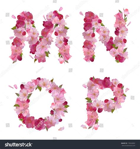 vector alphabet with gentle flowers letters vector alphabet with gentle pink flowers 15369