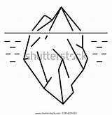 Iceberg Outline Flat Icon Isolated sketch template
