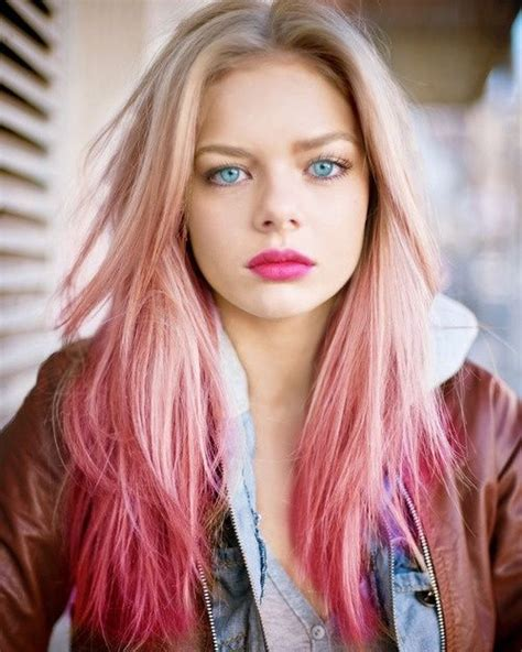 beautiful blonde  pink ombre hair  fashion pink