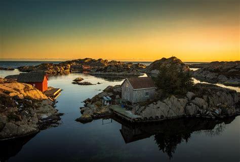 wallpaper norway sea house rocks tire pier sunset desktop