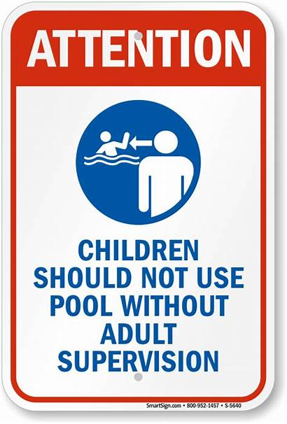 Supervision Pool Adult Sign Children Without Signs
